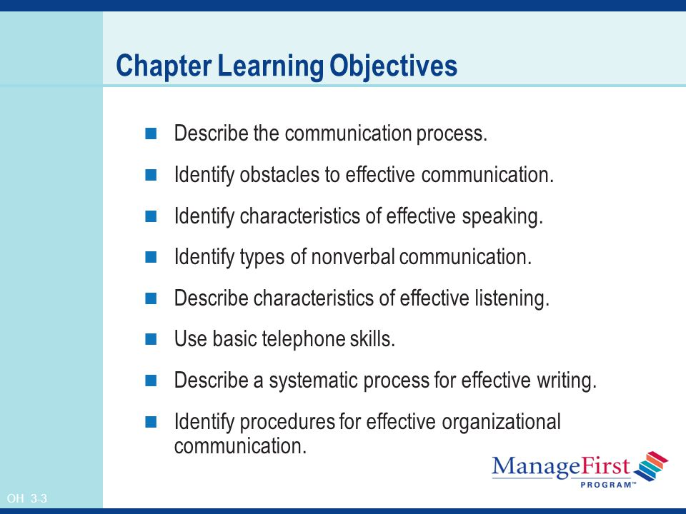 OH 3-3 Chapter Learning Objectives Describe the communication process.