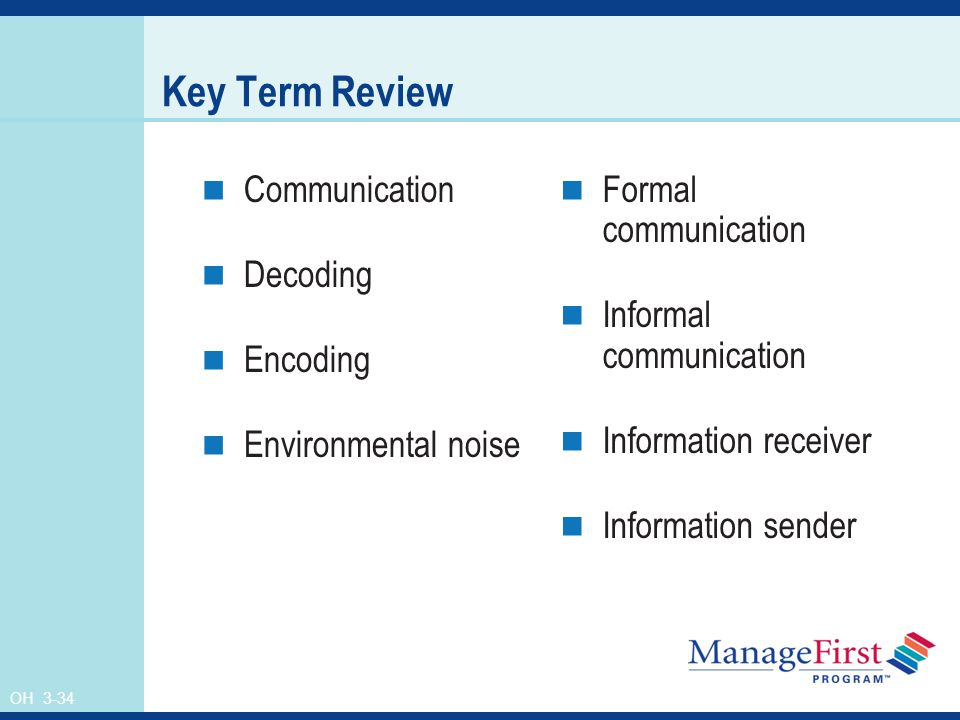 OH 3-34 Key Term Review Communication Decoding Encoding Environmental noise Formal communication Informal communication Information receiver Information sender