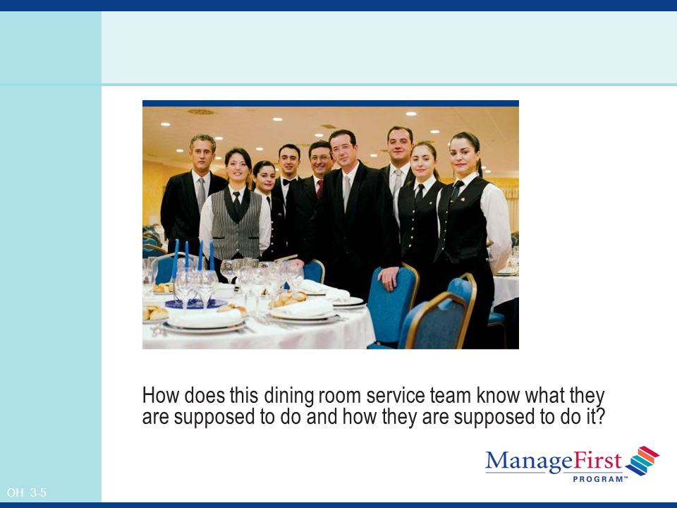OH 3-5 How does this dining room service team know what they are supposed to do and how they are supposed to do it