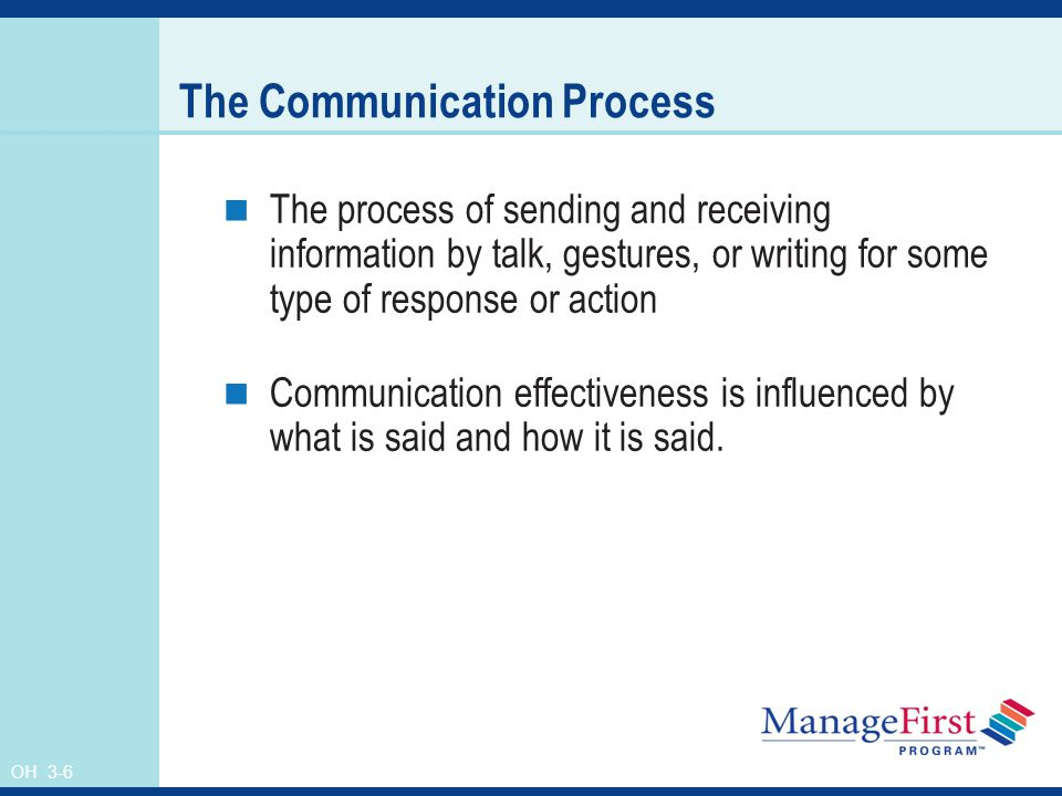 OH 3-6 The Communication Process The process of sending and receiving information by talk, gestures, or writing for some type of response or action Communication effectiveness is influenced by what is said and how it is said.