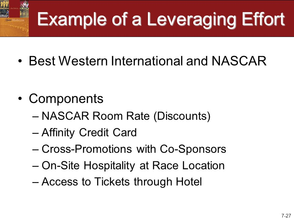 7-27 Example of a Leveraging Effort Best Western International and NASCAR Components –NASCAR Room Rate (Discounts) –Affinity Credit Card –Cross-Promotions with Co-Sponsors –On-Site Hospitality at Race Location –Access to Tickets through Hotel