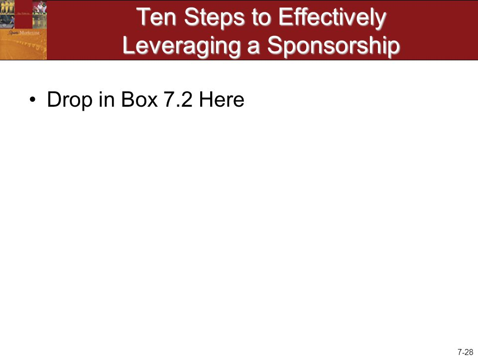 7-28 Ten Steps to Effectively Leveraging a Sponsorship Drop in Box 7.2 Here