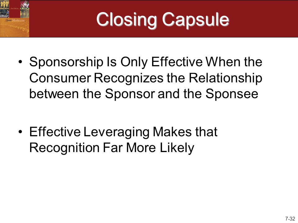 7-32 Closing Capsule Sponsorship Is Only Effective When the Consumer Recognizes the Relationship between the Sponsor and the Sponsee Effective Leveraging Makes that Recognition Far More Likely