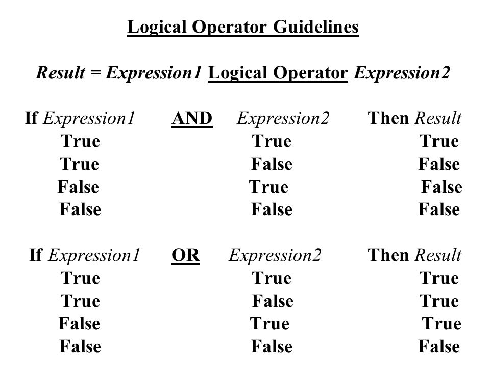 Logical Operator Guidelines Result = Expression1 Logical Operator Expression2 If Expression1AND Expression2Then Result True TrueTrue True False False False True False False False False If Expression1OR Expression2Then Result True TrueTrue True False True False True True False False False
