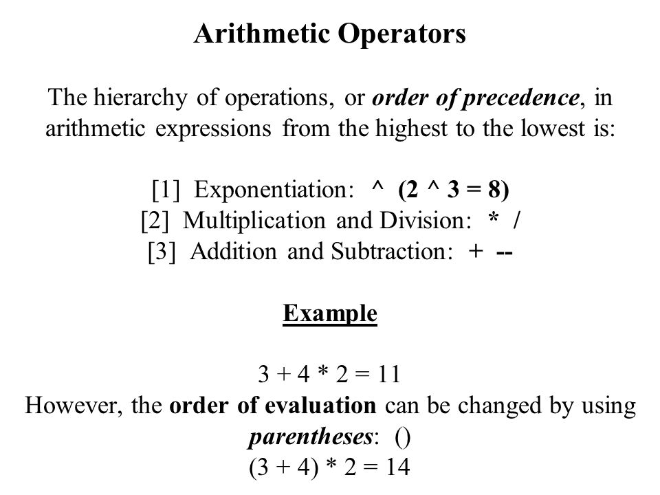 Arithmetic Operators The hierarchy of operations, or order of precedence, in arithmetic expressions from the highest to the lowest is: [1] Exponentiation: ^ (2 ^ 3 = 8) [2] Multiplication and Division: * / [3] Addition and Subtraction: + -- Example * 2 = 11 However, the order of evaluation can be changed by using parentheses: () (3 + 4) * 2 = 14