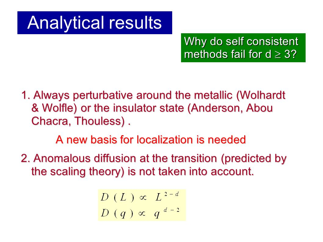 Analytical results 1.