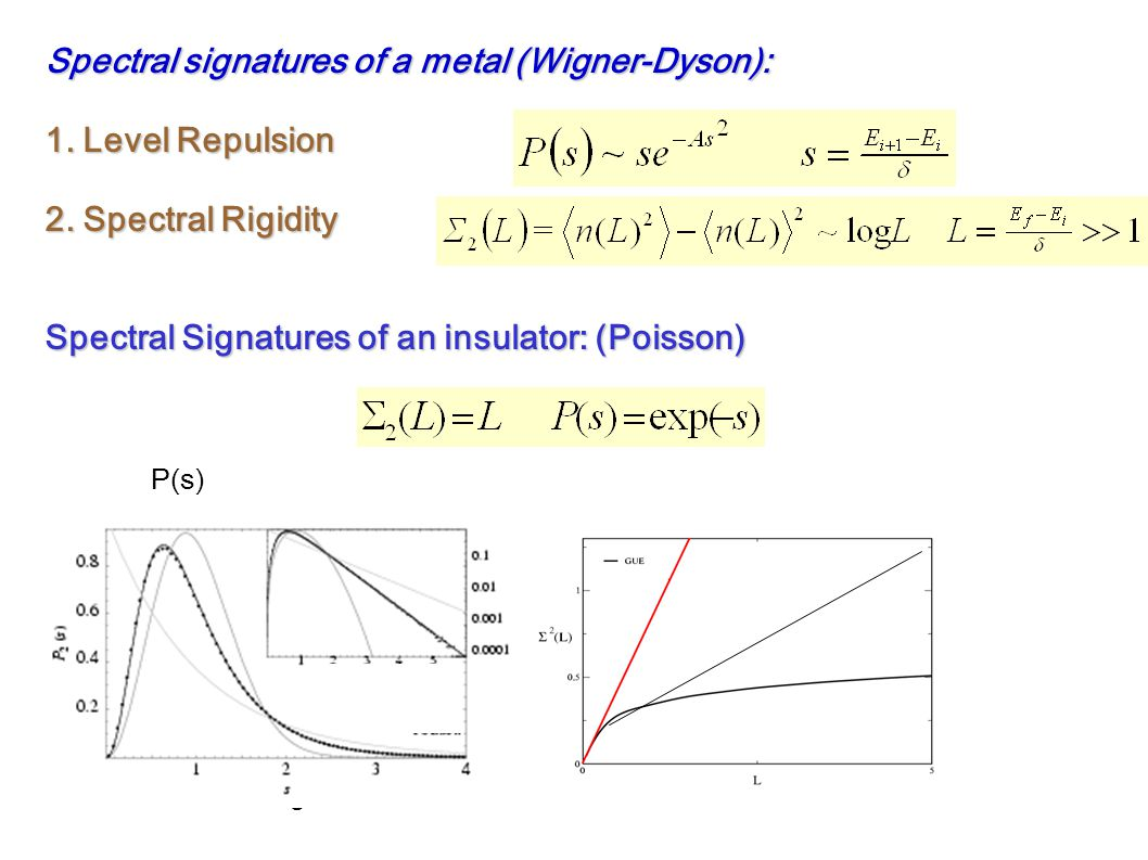 Spectral signatures of a metal (Wigner-Dyson): 1. Level Repulsion 2.