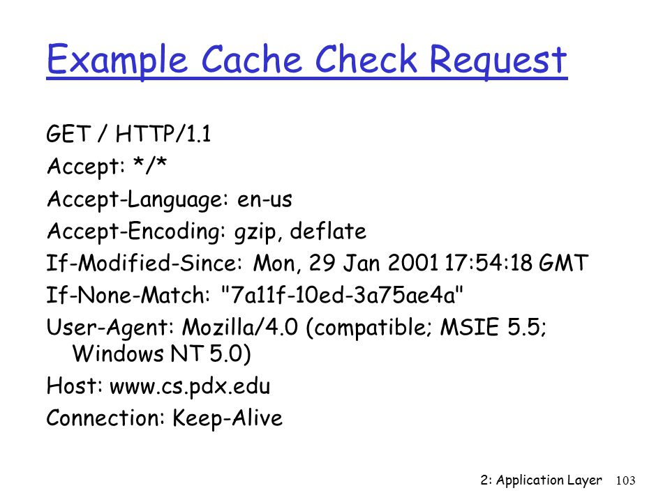 2: Application Layer103 Example Cache Check Request GET / HTTP/1.1 Accept: */* Accept-Language: en-us Accept-Encoding: gzip, deflate If-Modified-Since: Mon, 29 Jan :54:18 GMT If-None-Match: 7a11f-10ed-3a75ae4a User-Agent: Mozilla/4.0 (compatible; MSIE 5.5; Windows NT 5.0) Host:   Connection: Keep-Alive
