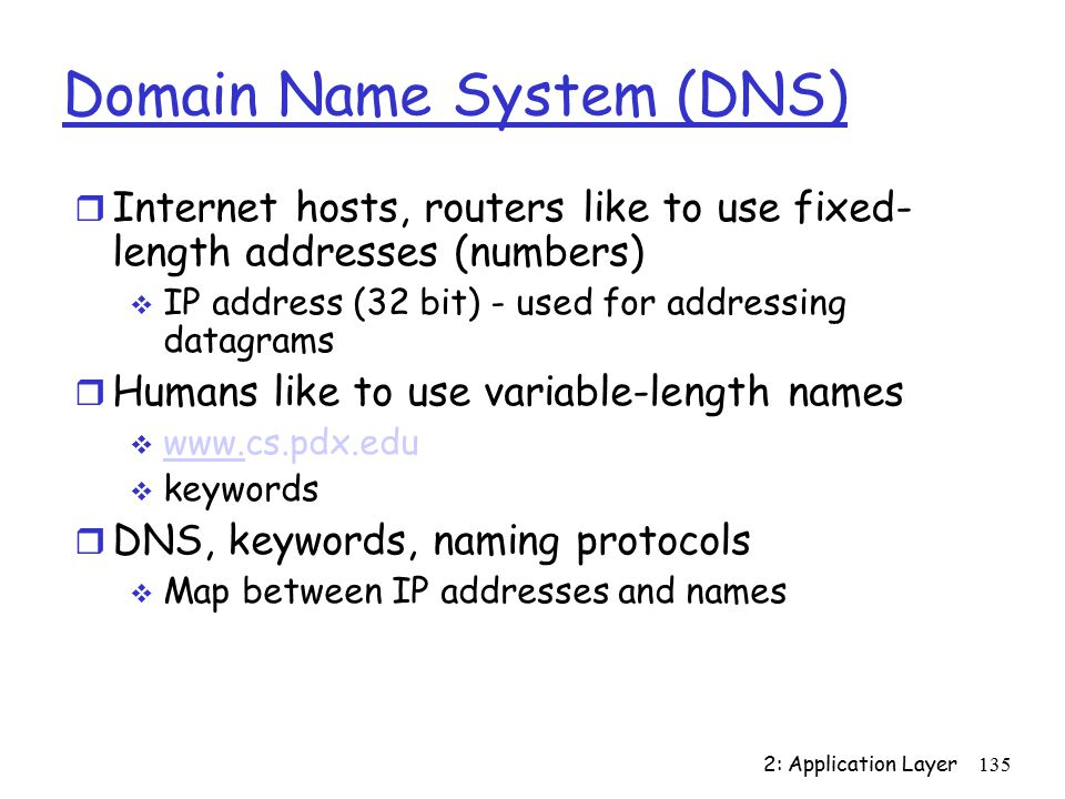 2: Application Layer135 Domain Name System (DNS) r Internet hosts, routers like to use fixed- length addresses (numbers)  IP address (32 bit) - used for addressing datagrams r Humans like to use variable-length names    www.