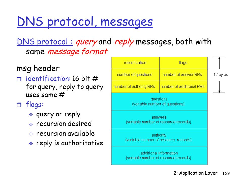 2: Application Layer159 DNS protocol, messages DNS protocol : query and reply messages, both with same message format msg header r identification: 16 bit # for query, reply to query uses same # r flags:  query or reply  recursion desired  recursion available  reply is authoritative