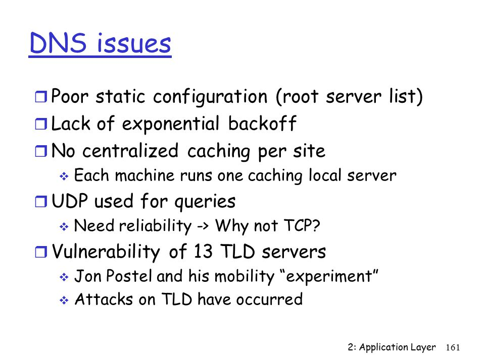 2: Application Layer161 DNS issues r Poor static configuration (root server list) r Lack of exponential backoff r No centralized caching per site  Each machine runs one caching local server r UDP used for queries  Need reliability -> Why not TCP.