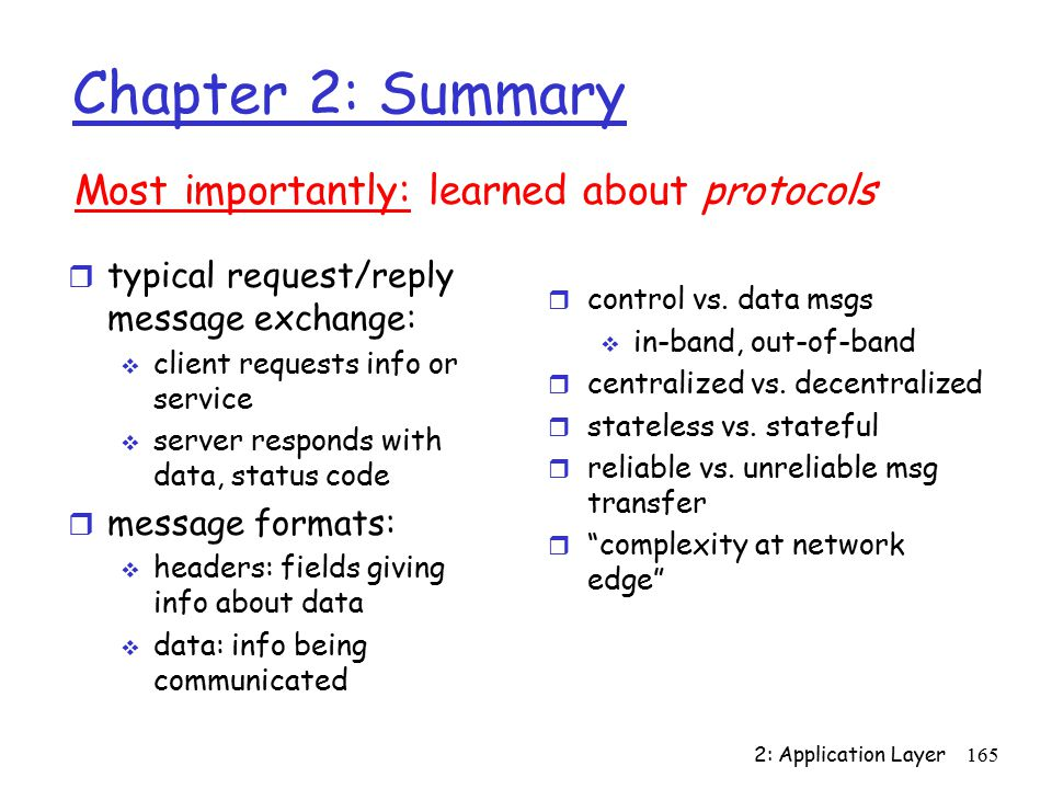 2: Application Layer165 Chapter 2: Summary r typical request/reply message exchange:  client requests info or service  server responds with data, status code r message formats:  headers: fields giving info about data  data: info being communicated Most importantly: learned about protocols r control vs.