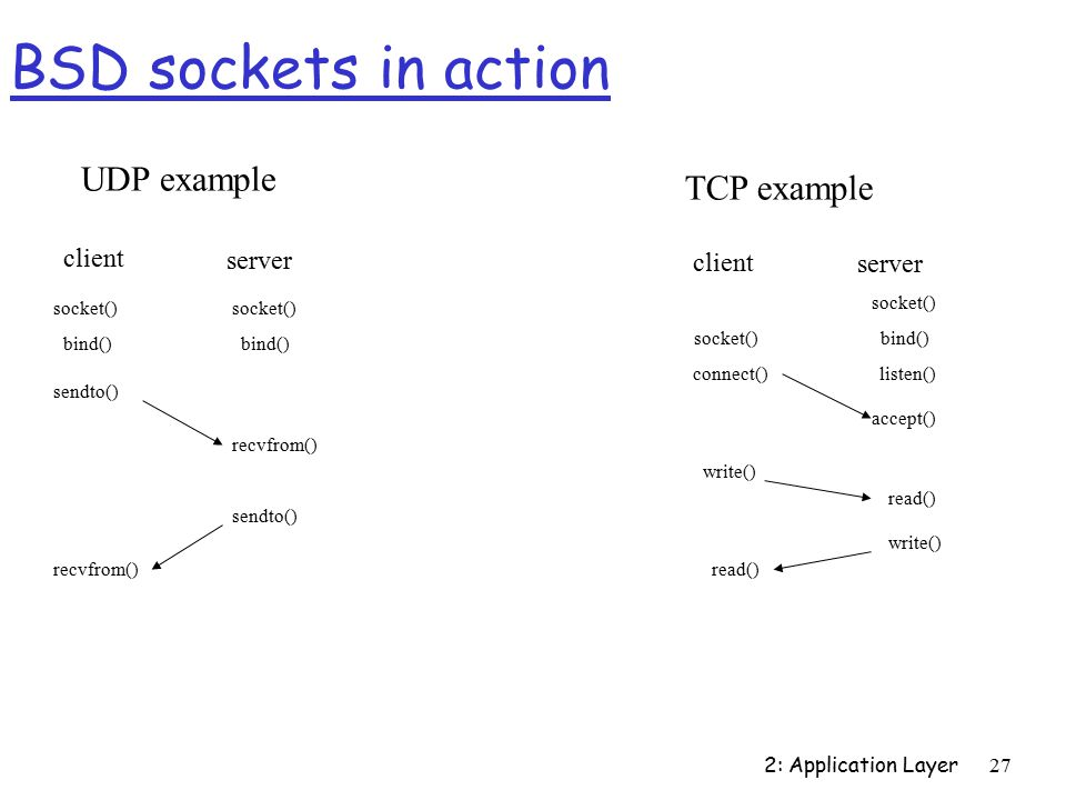 2: Application Layer27 BSD sockets in action server client bind() socket() recvfrom() sendto() bind() recvfrom() UDP example TCP example sendto() connect() socket() bind() server client listen() accept() write() read() write() read()
