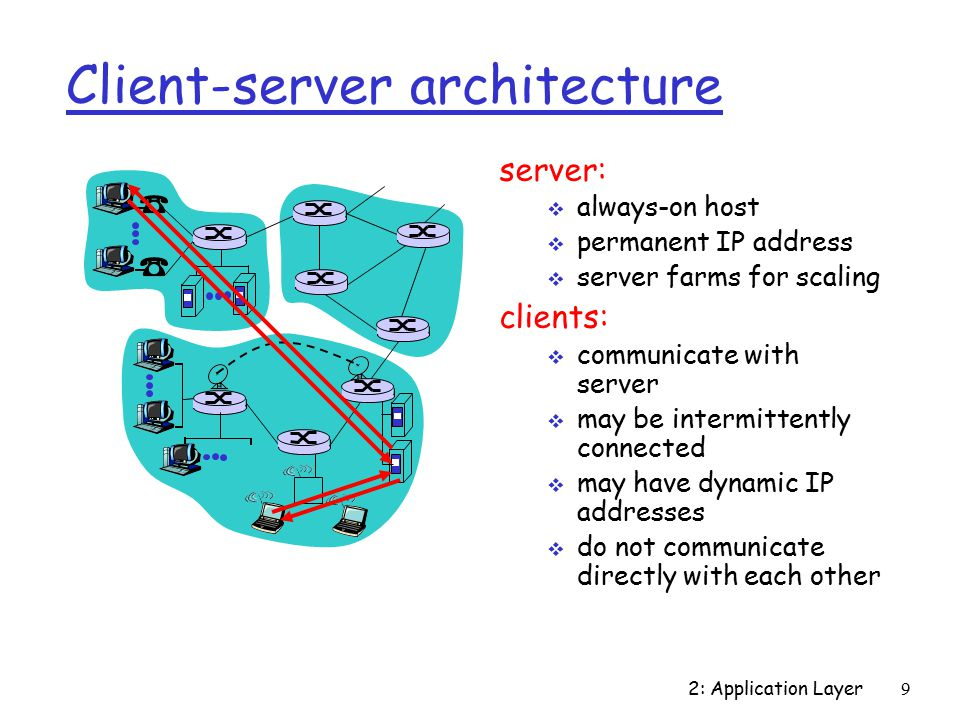 2: Application Layer9 Client-server architecture server:  always-on host  permanent IP address  server farms for scaling clients:  communicate with server  may be intermittently connected  may have dynamic IP addresses  do not communicate directly with each other
