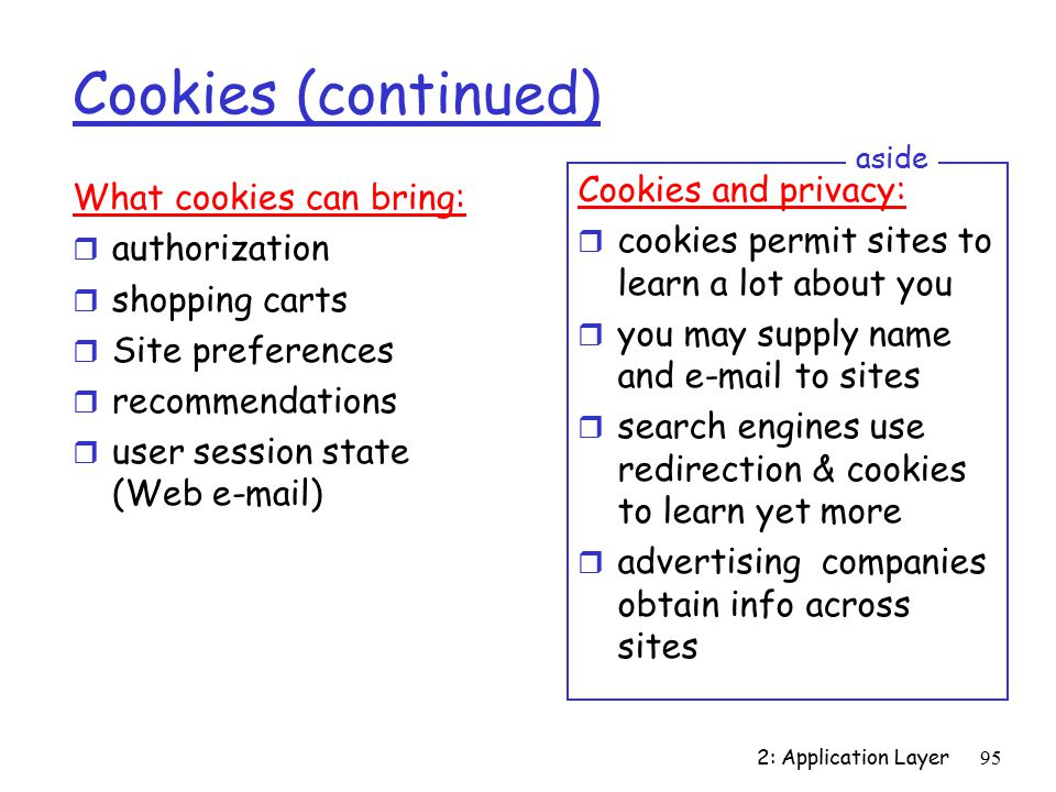 2: Application Layer95 Cookies (continued) What cookies can bring: r authorization r shopping carts r Site preferences r recommendations r user session state (Web  ) Cookies and privacy: r cookies permit sites to learn a lot about you r you may supply name and  to sites r search engines use redirection & cookies to learn yet more r advertising companies obtain info across sites aside