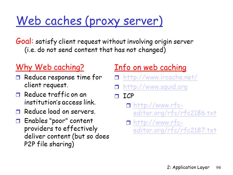 2: Application Layer96 Web caches (proxy server) Why Web caching.