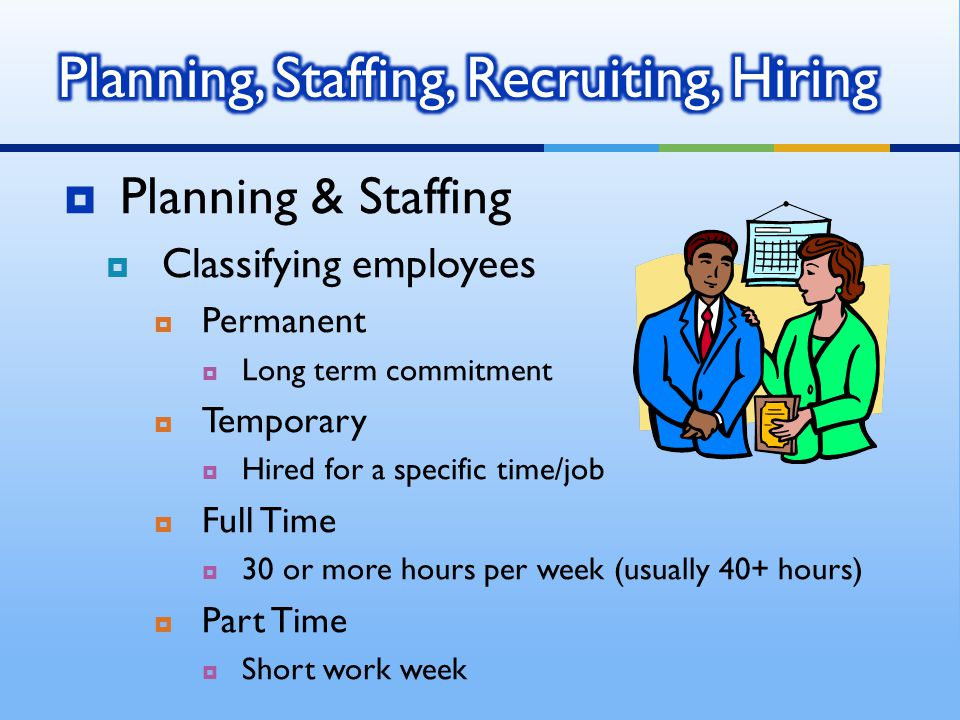 PPlanning & Staffing CClassifying employees PPermanent LLong term commitment TTemporary HHired for a specific time/job FFull Time 330