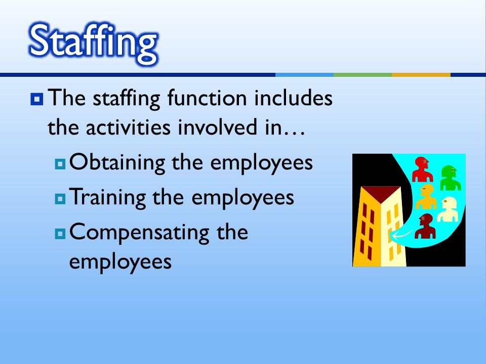  The staffing function includes the activities involved in…  Obtaining the employees  Training the employees  Compensating the employees