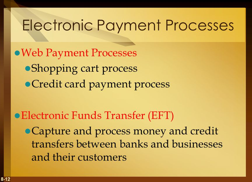 8-12 Electronic Payment Processes Web Payment Processes Shopping cart process Credit card payment process Electronic Funds Transfer (EFT) Capture and