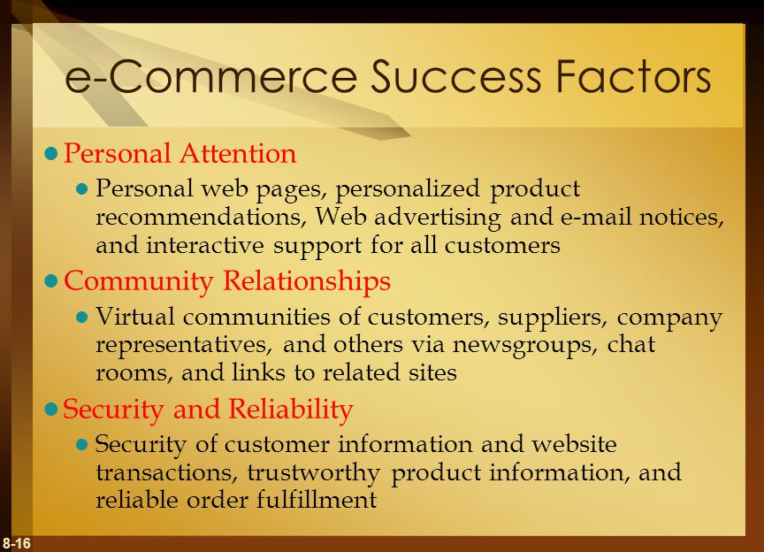 8-16 e-Commerce Success Factors Personal Attention Personal web pages, personalized product recommendations, Web advertising and e-mail notices, and i