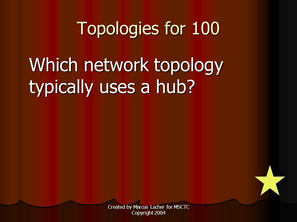 Created by Marcus Lacher for MSCTC Copyright 2004 Topologies for 100 Which network topology typically uses a hub