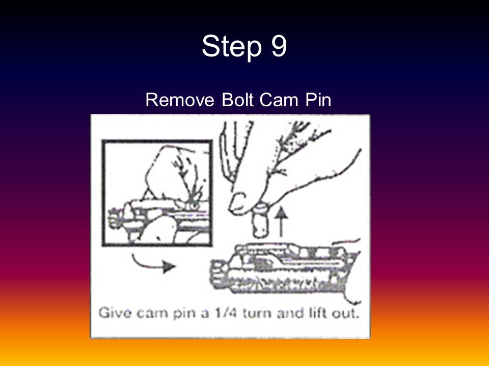 Step 9 Remove Bolt Cam Pin