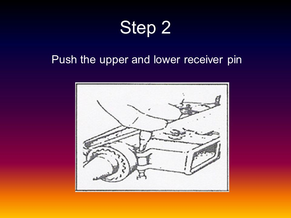 Step 2 Push the upper and lower receiver pin