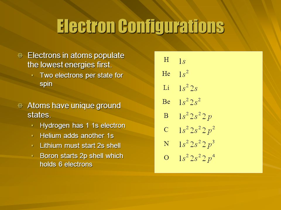 Electron Configurations  Electrons in atoms populate the lowest energies first.