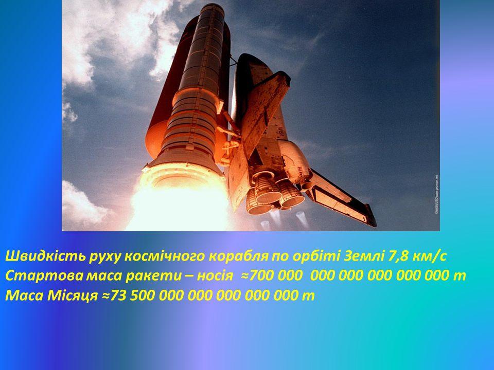 Швидкість руху космічного корабля по орбіті Землі 7,8 км/с Стартова маса ракети – носія ≈700 000 000 000 000 000 000 т Маса Місяця ≈73 500 000 000 000