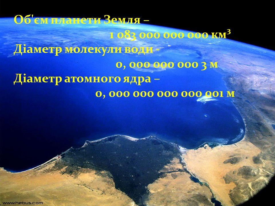 Об'єм планети Земля – 1 083 000 000 000 км³ Діаметр молекули води - 0, 000 000 000 3 м Діаметр атомного ядра – 0, 000 000 000 000 001 м