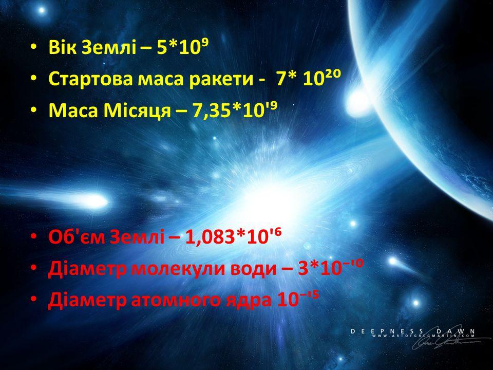 Вік Землі – 5*10⁹ Стартова маса ракети - 7* 10²⁰ Маса Місяця – 7,35*10'⁹ Об'єм Землі – 1,083*10'⁶ Діаметр молекули води – 3*10⁻'⁰ Діаметр атомного ядр