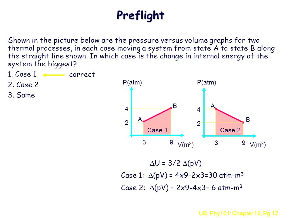 UB, Phy101: Chapter 15, Pg 12 Preflight Shown in the picture below are the pressure versus volume graphs for two thermal processes, in each case moving a system from state A to state B along the straight line shown.