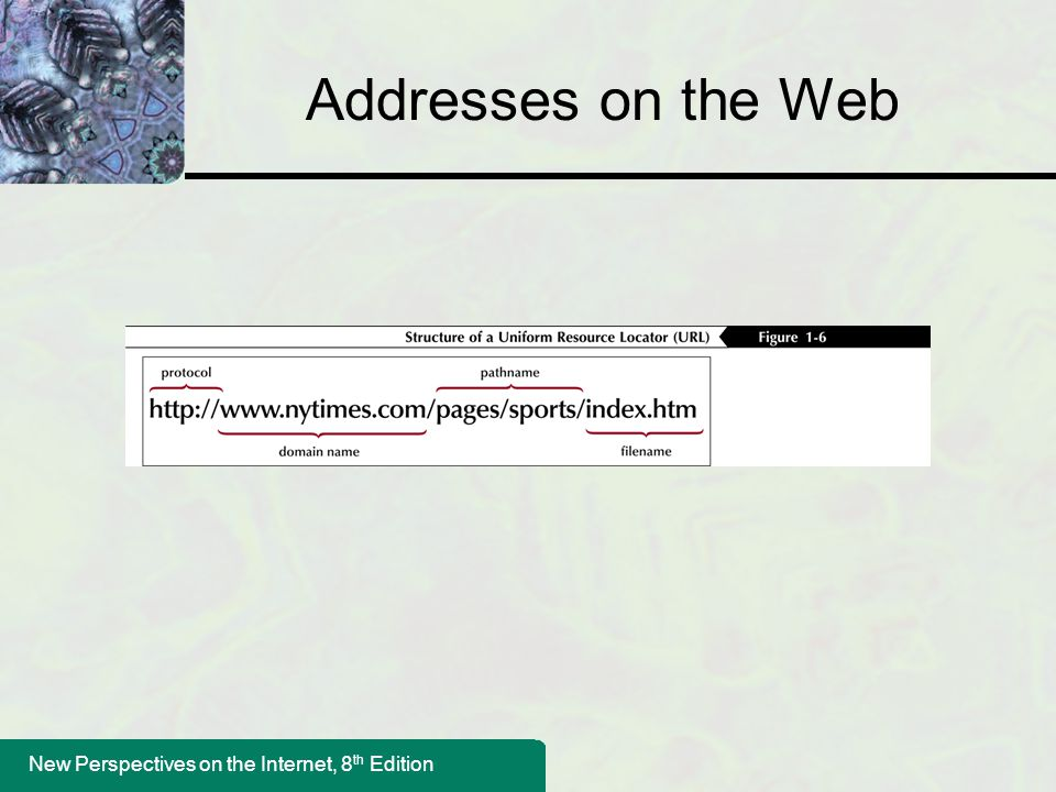 New Perspectives on the Internet, 8 th Edition Addresses on the Web