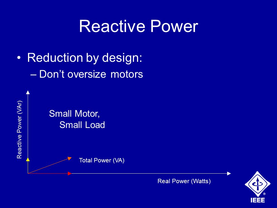Reactive Power Reduction by design: –Don't oversize motors Real Power (Watts) Reactive Power (VAr) Total Power (VA) Small Motor, Small Load