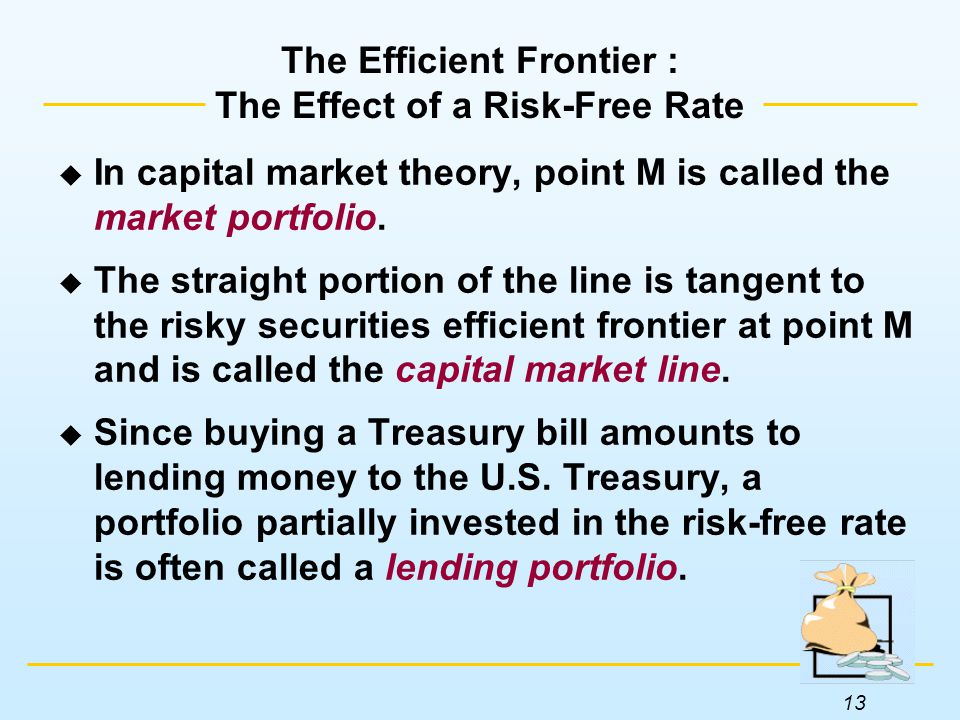 13 The Efficient Frontier : The Effect of a Risk-Free Rate  In capital market theory, point M is called the market portfolio.