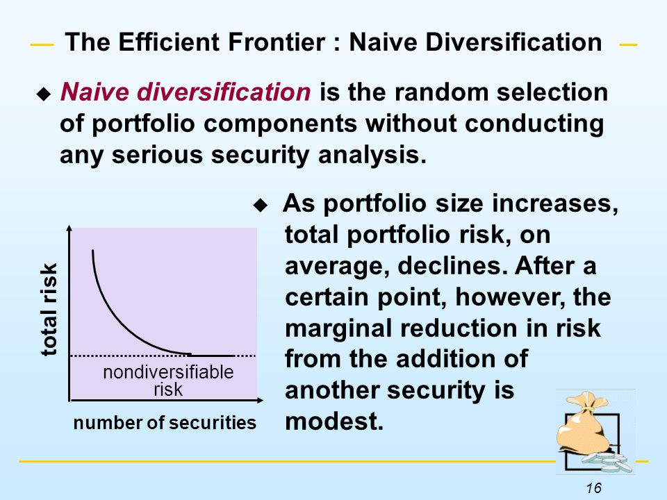 16 The Efficient Frontier : Naive Diversification  As portfolio size increases, total portfolio risk, on average, declines.
