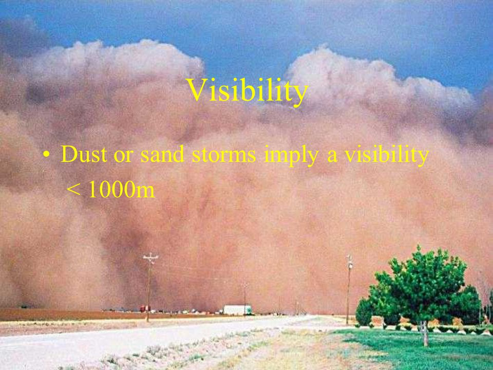 Sand Consists of particles between 0.08 & 0.3mm in diameter Sand storms with winds of 20kt or more A daylight event due to DV of wind