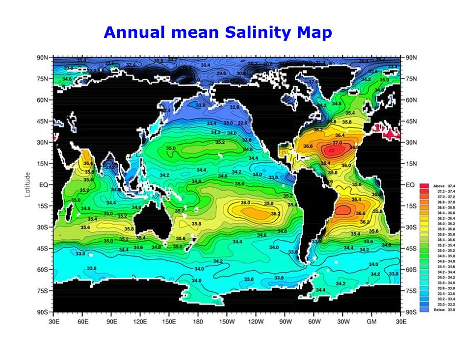 Annual mean Salinity Map