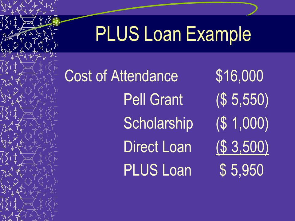 PLUS Loan Amounts Parents can borrow up to the cost of attendance minus any financial aid for each student that is eligible * If Parent loan is denied, there is additional eligibility for the student in loan amounts
