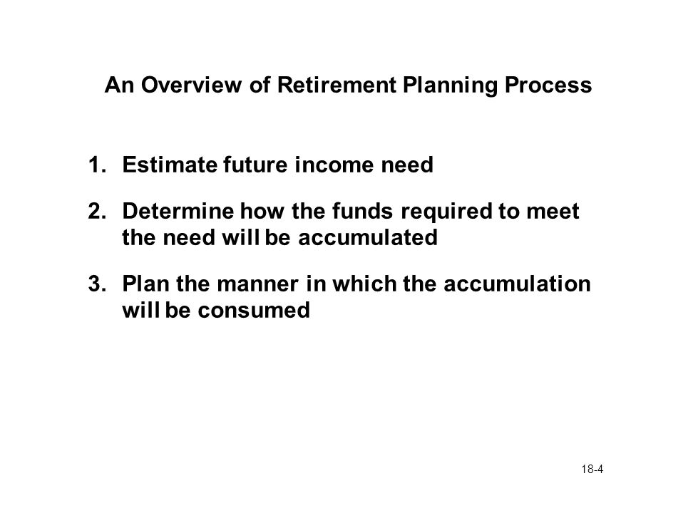 18-4 An Overview of Retirement Planning Process 1.Estimate future income need 2.Determine how the funds required to meet the need will be accumulated 3.Plan the manner in which the accumulation will be consumed
