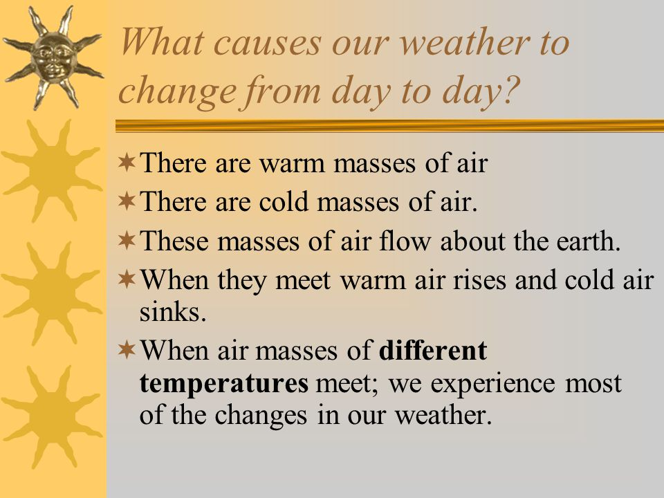 What causes our weather to change from day to day.