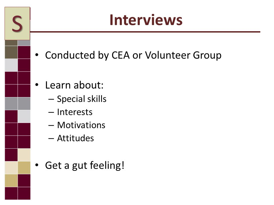 Interviews Conducted by CEA or Volunteer Group Learn about: – Special skills – Interests – Motivations – Attitudes Get a gut feeling.