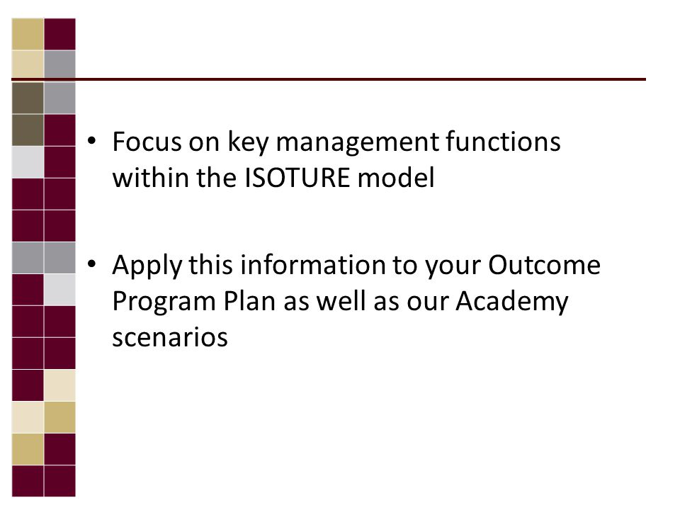 Focus on key management functions within the ISOTURE model Apply this information to your Outcome Program Plan as well as our Academy scenarios