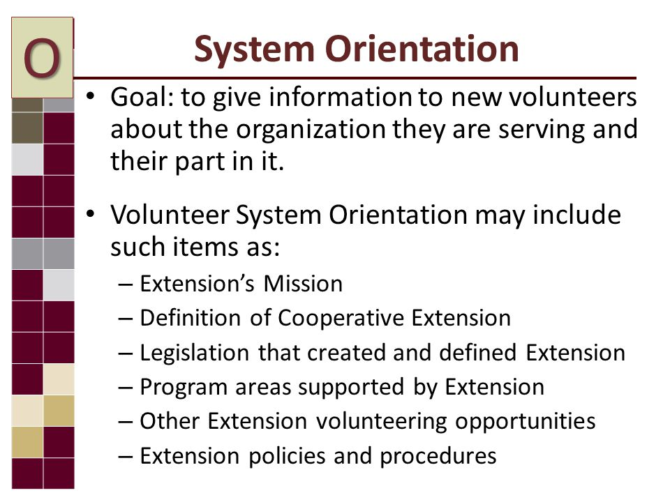 System Orientation Goal: to give information to new volunteers about the organization they are serving and their part in it.