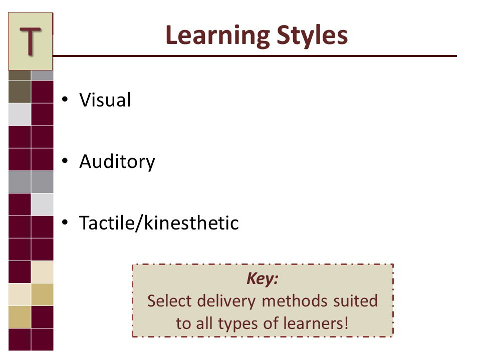 Learning Styles Visual Auditory Tactile/kinesthetic Key: Select delivery methods suited to all types of learners.