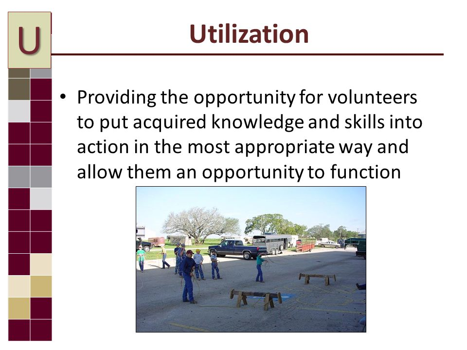 Providing the opportunity for volunteers to put acquired knowledge and skills into action in the most appropriate way and allow them an opportunity to function U