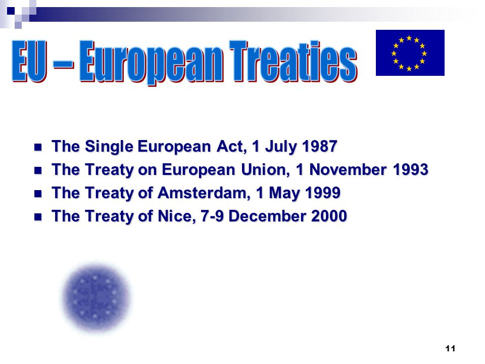 11 The Single European Act, 1 July 1987 The Single European Act, 1 July 1987 The Treaty on European Union, 1 November 1993 The Treaty on European Union, 1 November 1993 The Treaty of Amsterdam, 1 May 1999 The Treaty of Amsterdam, 1 May 1999 The Treaty of Nice, 7-9 December 2000 The Treaty of Nice, 7-9 December 2000