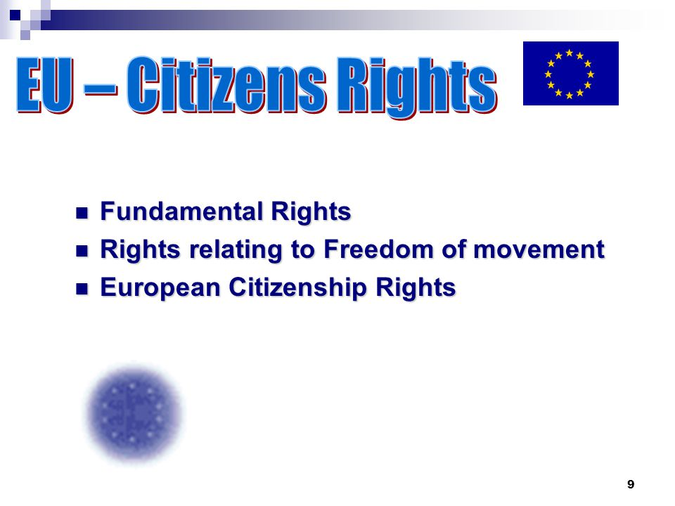 9 Fundamental Rights Fundamental Rights Rights relating to Freedom of movement Rights relating to Freedom of movement European Citizenship Rights European Citizenship Rights