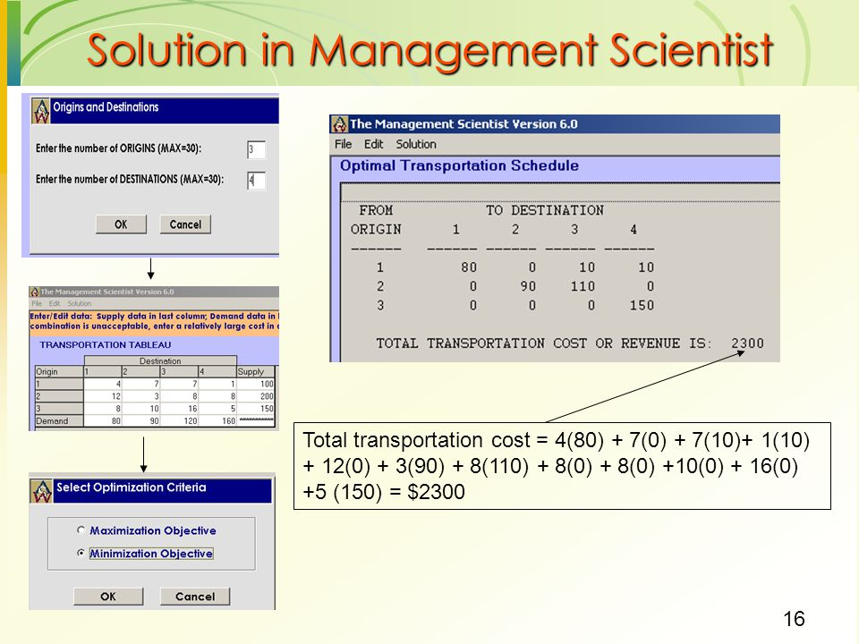16 Solution in Management Scientist Total transportation cost = 4(80) + 7(0) + 7(10)+ 1(10) + 12(0) + 3(90) + 8(110) + 8(0) + 8(0) +10(0) + 16(0) +5 (150) = $2300