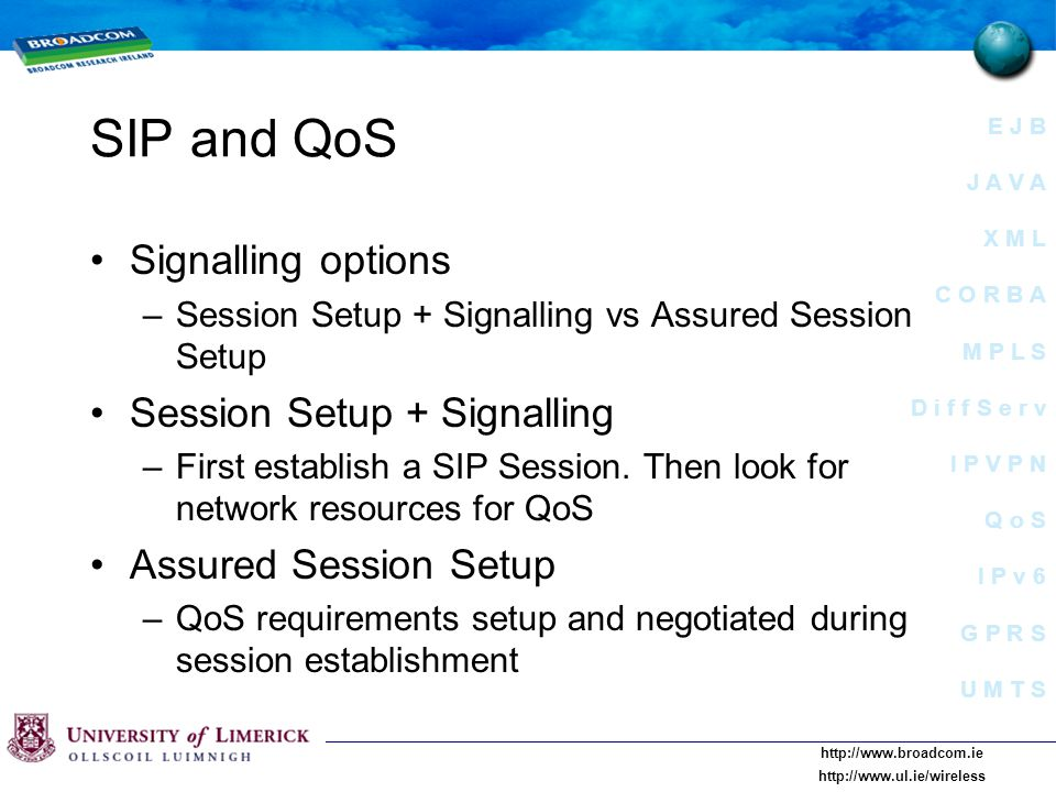E J B J A V A X M L C O R B A M P L S D i f f S e r v I P V P N Q o S I P v 6 G P R S U M T S     SIP and QoS Signalling options –Session Setup + Signalling vs Assured Session Setup Session Setup + Signalling –First establish a SIP Session.